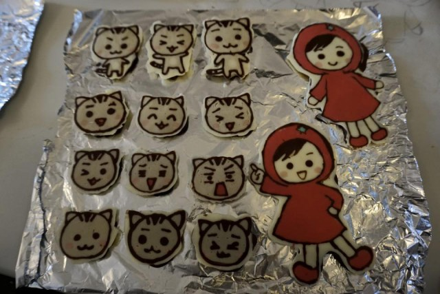 バレンタイン手作りケーキ キャラチョコ 完成