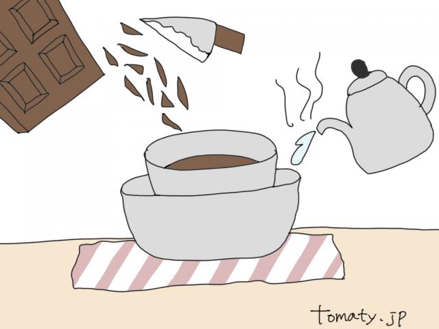 バレンタイン手作りケーキ キャラチョコ 湯煎